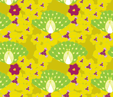 peacocks and yellow fabric by sary on Spoonflower - custom fabric