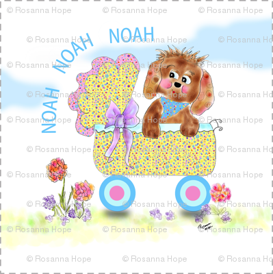 Puppy Love Personalized Baby Blanket top by Rosanna Hope for Babybonbons