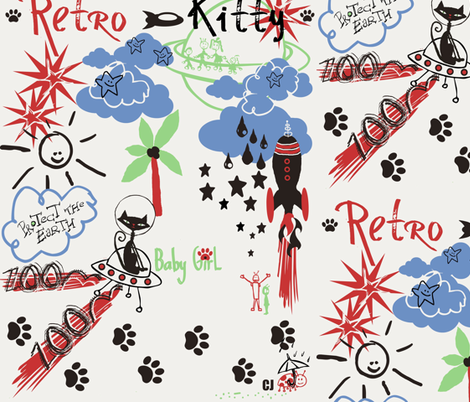 Retro Kitty / kitty meets martians fabric by paragonstudios on Spoonflower - custom fabric