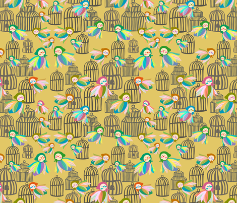 birds and cages fabric by heidikenney on Spoonflower - custom fabric