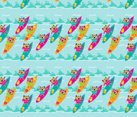 Tiki_Owls_Go_Surfing fabric by deesignor on Spoonflower - custom fabric