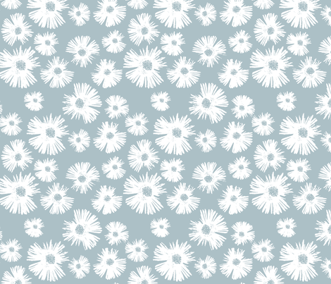 Paper Daisy - Provence Blue fabric by kristopherk on Spoonflower - custom fabric