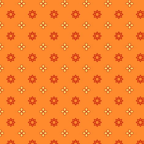Starry Petals - Polly Orange fabric by inscribed_here on Spoonflower - custom fabric