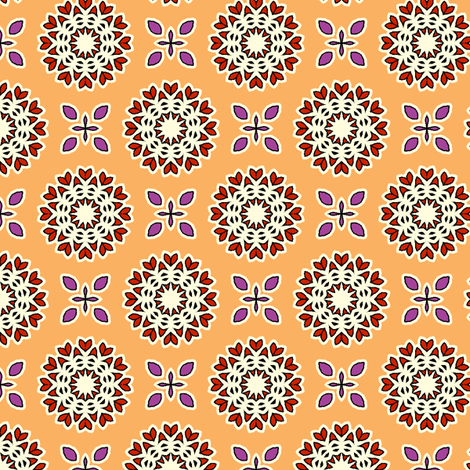 Full Bloom - Polly Orange fabric by inscribed_here on Spoonflower - custom fabric