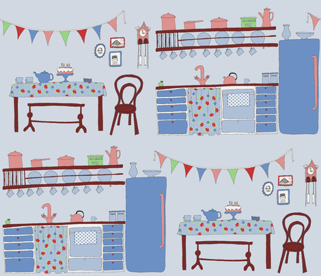 Fifties Kitchen fabric by shiny on Spoonflower - custom fabric