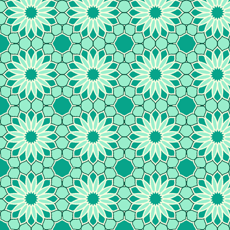 Rock Daisies - Mint Green fabric by inscribed_here on Spoonflower - custom fabric