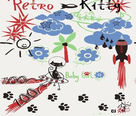 Retro Kitty / FAT 1/4 fabric by paragonstudios on Spoonflower - custom fabric