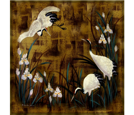 Orchids and Cranes / Scarf fabric by paragonstudios on Spoonflower - custom fabric