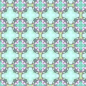 Aqua flower tiles