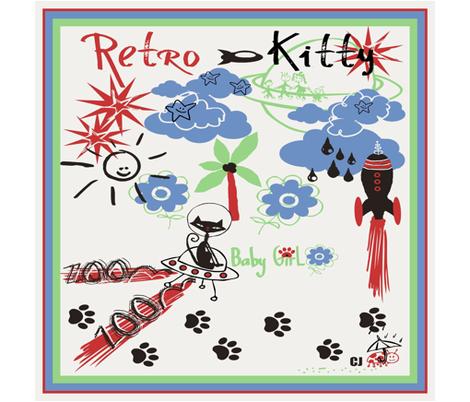 Retro Kitty / SCARF fabric by paragonstudios on Spoonflower - custom fabric