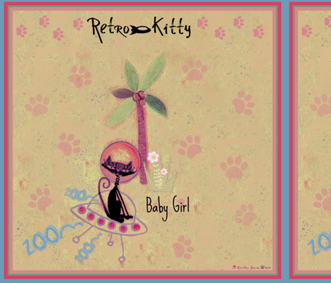 Retro Kitty / Paws Scarf fabric by paragonstudios on Spoonflower - custom fabric