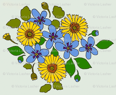 50s_yellow_and_blue_flower_cluster
