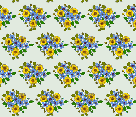 50s_yellow_and_blue_flower_cluster fabric by victorialasher on Spoonflower - custom fabric
