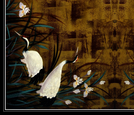 """Orchids ,Cranes 36"""" fabric by paragonstudios on Spoonflower - custom fabric"""