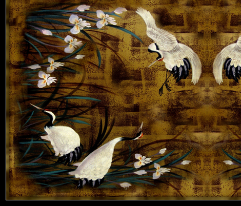 "Orchids, Cranes 36"" fabric by paragonstudios on Spoonflower - custom fabric"