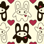 Bunny Squee Fabric - Hearts
