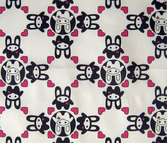 Bunny Squee Fabric - Diamond Hearts
