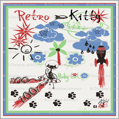 "Retro Kitty 18"" SCARF"