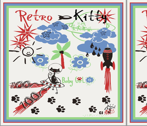 "Retro Kitty 18"" SCARF fabric by paragonstudios on Spoonflower - custom fabric"