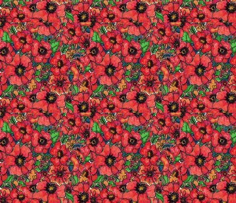 Poppy Field fabric by snazzyfrogs on Spoonflower - custom fabric