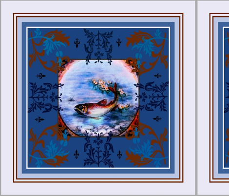 "18"" Fleur-de-lis trout Scarf fabric by paragonstudios on Spoonflower - custom fabric"