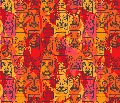 tiki fabric by minimiel on Spoonflower - custom fabric