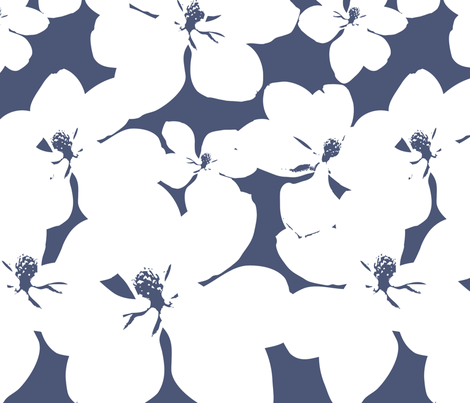 Magnolia Little Gem - China Blue - 3 Yard Panel fabric by kristopherk on Spoonflower - custom fabric