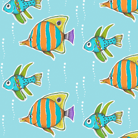 Happy Fishes Blue fabric by pattysloniger on Spoonflower - custom fabric