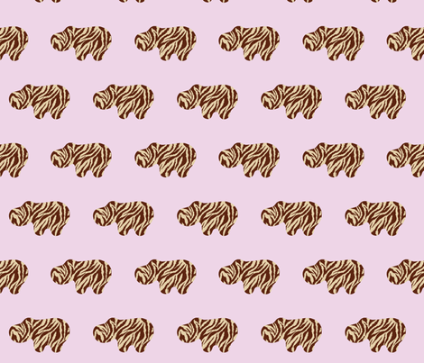 Animal Printed Hippo - Pink Bobby Pins fabric by dorolimited on Spoonflower - custom fabric
