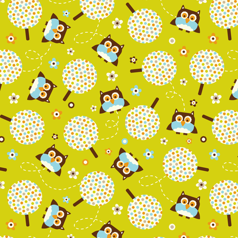 In The Neighborhood - Owls & Trees Green fabric by heatherdutton on Spoonflower - custom fabric