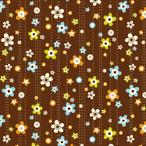 Flower Shower - Floral Brown fabric by heatherdutton on Spoonflower - custom fabric