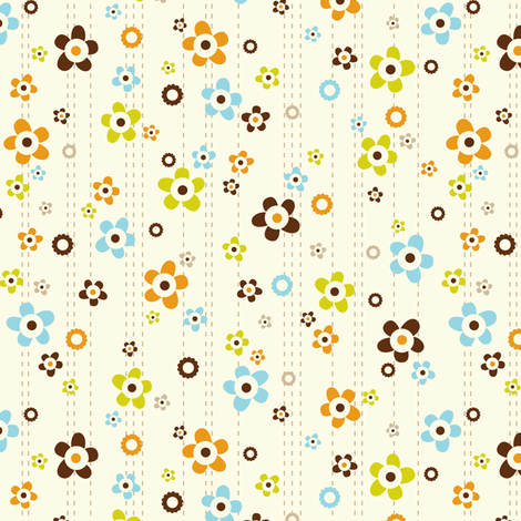 Flower Shower - Floral Cream fabric by heatherdutton on Spoonflower - custom fabric