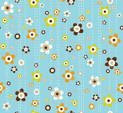 Flower Shower - Floral Aqua Blue