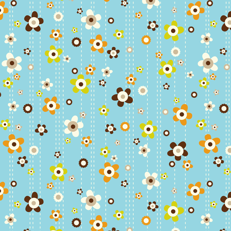 Flower Shower - Floral Aqua Blue fabric by heatherdutton on Spoonflower - custom fabric