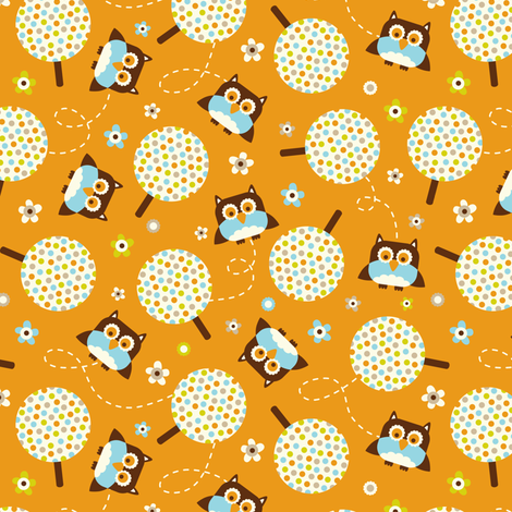 In The Neighborhood - Owls & Trees Orange fabric by heatherdutton on Spoonflower - custom fabric