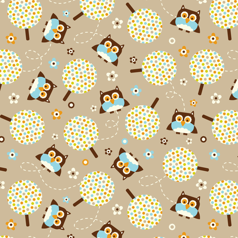 In The Neighborhood - Owls & Trees Tan Brown fabric by heatherdutton on Spoonflower - custom fabric