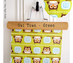 Owl Town - Whimsical Birds Green