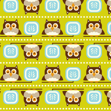 Owl Town - Whimsical Birds Green fabric by heatherdutton on Spoonflower - custom fabric