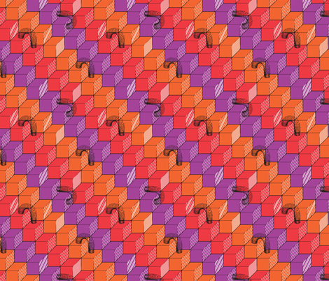 slinky_black_full color fabric by annosch on Spoonflower - custom fabric