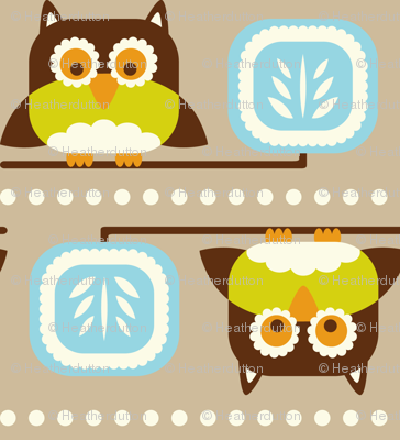 Owl Town - Whimsical Birds Tan Brown