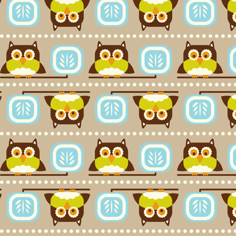 Owl Town - Whimsical Birds Tan Brown fabric by heatherdutton on Spoonflower - custom fabric