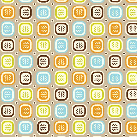 Leaf Line - Retro Leaf Geometric Tan Brown fabric by heatherdutton on Spoonflower - custom fabric