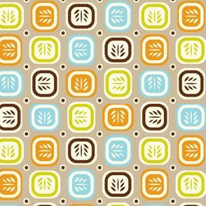 Leaf Line - Retro Leaf Geometric Tan Brown