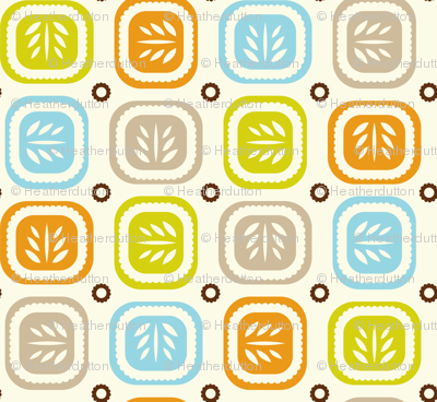 Leaf Line - Retro Leaf Geometric Cream