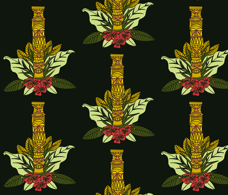 Tiki Totem and Flowers fabric by kristenstein on Spoonflower - custom fabric