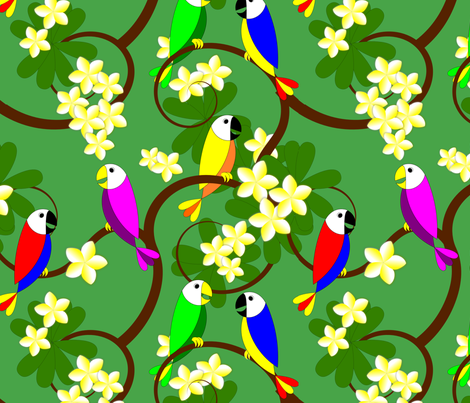 Hawaiian Parrots and Plumeria Tree fabric by stephane on Spoonflower - custom fabric