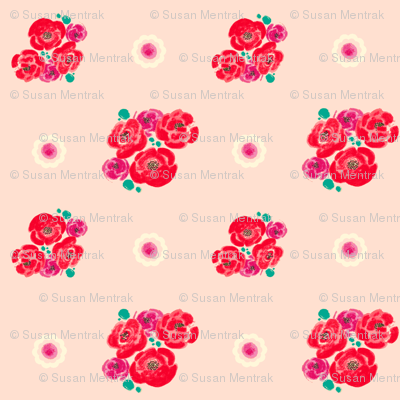 Poppies - Pink Pattern-teal/plum