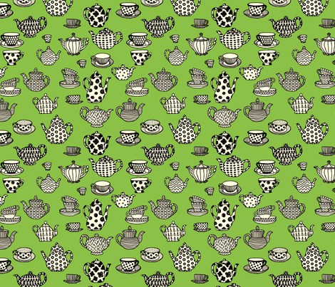 Antique Shop - Teapots fabric by paulahoffmandesign on Spoonflower - custom fabric