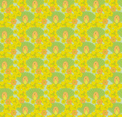 Green peacocks fabric by sary on Spoonflower - custom fabric