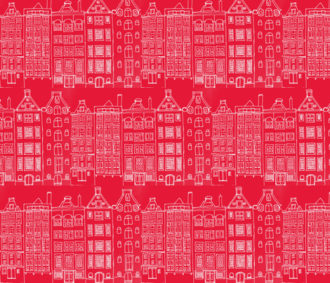DutchHouses red fabric by blue_jacaranda on Spoonflower - custom fabric
